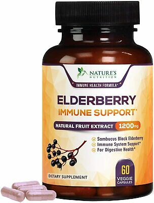 Elderberry Capsules Extra Strength 1200mg Immune System Booster Supplement