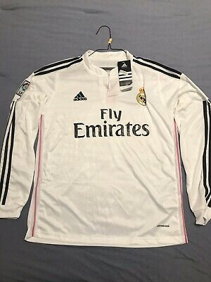 NWT Adidas Real Madrid ClimaCool Mens S SMALL White Team Jersey Fly Emirates