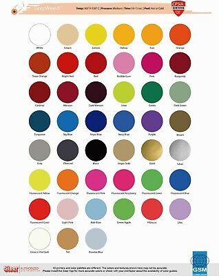 SISER HTV EasyWeed Heat Transfer Vinyl 12 x 10 yds FLUORESCENT COLORS -T SHIRTS