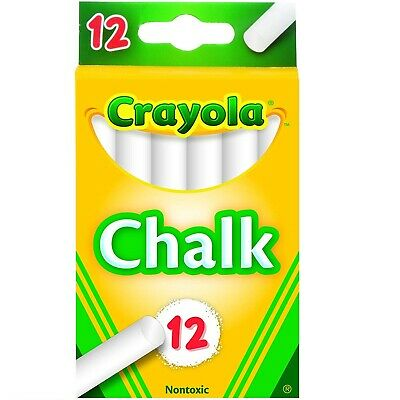 12-Pack Non-Toxic White Chalk Sticks for Chalkboard Teaching Class Kids Activity