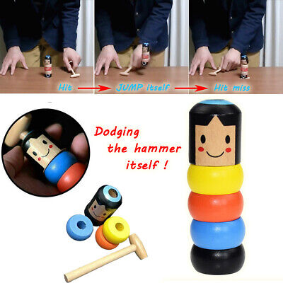 Unbreakable Wooden Man Immortal Doll Magic Toy Jumping Daruma for Kids Gifts