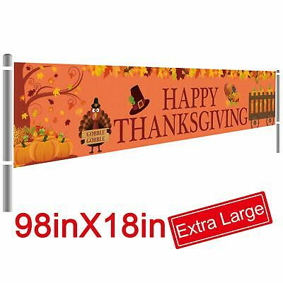 Large Happy Thanksgiving Banner Decoration Fall Turkey Maple Leaf Pumpkin Party