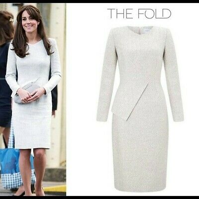 The Fold Eaton Dress Kate Middleton Black - White Tweed RRP £365