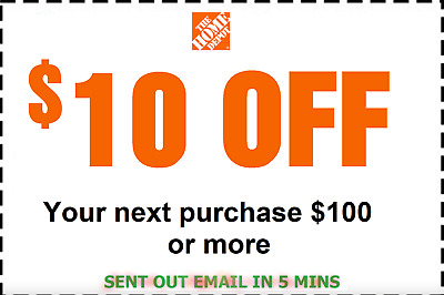 Home Depot Coupon 10 Off 100 IN-STORE ONLY-Fast Delivered- Back Guarantee