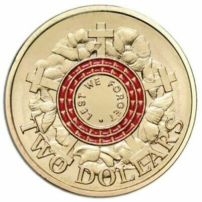 2015  RED 2 DOLLAR COIN  UNCIRCULATED  LEST WE FORGET ANZAC DAY