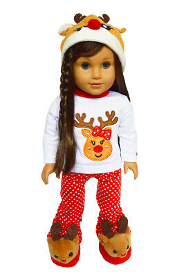 Holiday Lounge Pajamas Set 4 American Girl Dolls 18 Inch Doll Clothes