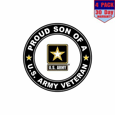 Proud Son of a US Army Veteran 4 Stickers 4x4 Inch Sticker Decal