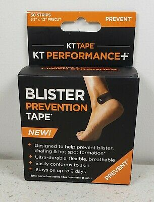 KT Tape Precut 3-5 x1-2 Perfomance Blister Prevention Tape - 30 Strips - Black