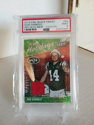 Sam Darnold 2018 Panini Black Friday Happy Holiday Escher Square 2025 PSA 9
