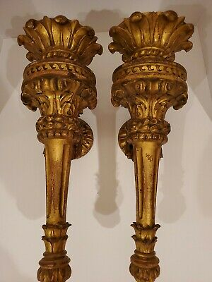 Pair Large 19 Antique Wood Carved Wall Torch Sconces Gilt Ornate Gothic Rococo