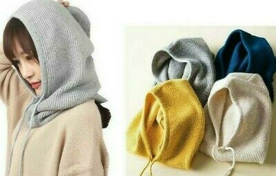 Soft and Warm Women Winter Beanie Hat Cashmere Knitted Hooded Scarf Balaclava