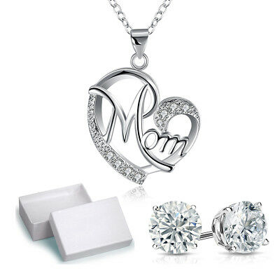 Mothers day Gift White Gold Plated Heart Pendant Necklace GIFT FOR MOM with box