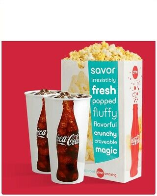 AMC Theaters 2x Large Drinks and 1x Popcorn Voucher Coke   1 Hr- Delivery