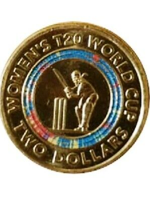 Womens Cricket 2 Coin - Display Folder T20 World Cup Coloured Coin UNC NEW