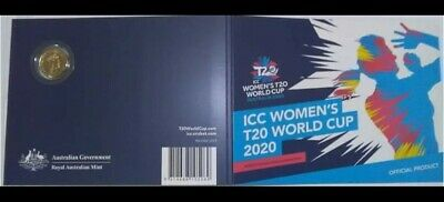 Womens Cricket World Cup 2 Coin - Display Folder T20 Coloured Coin UNC NEW