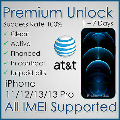 PREMIUM AT-T ATT FACTORY UNLOCK SERVICE FOR IPHONE 11Pro 11 Xs Xr X 8 7 Unpaid