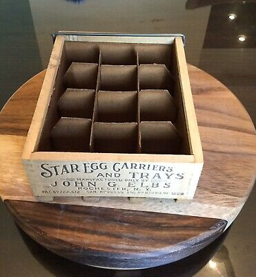 nos 1950s Primitive Star Egg Crate Carrier w Insert