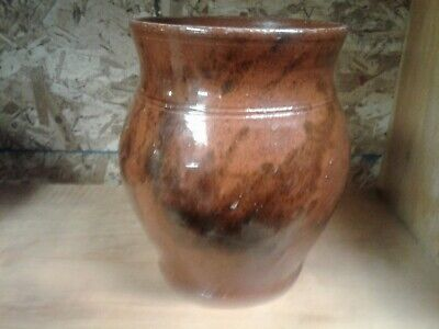 Primitive 19th Century Glazed Redware Ovoid Crock Incised Stripes 6in-