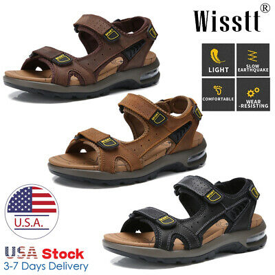 Mens Leather Sandals Adjust Strap Open Toe Outdoor Casual Sports Beach Shoes Y11