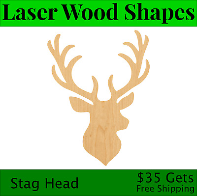 Stag Head Laser Cut Out Wood Shape Craft Supply - Woodcraft