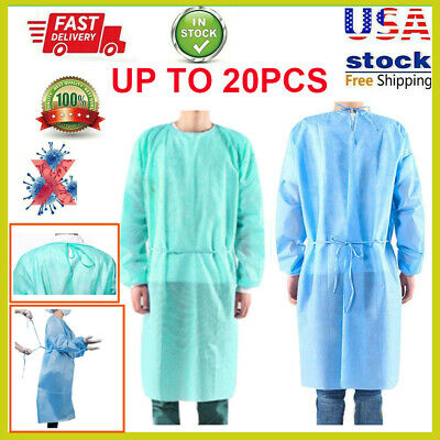 20PCS Universal Disposable Isolation Gown Coverall Protective Safety Suit US LOT