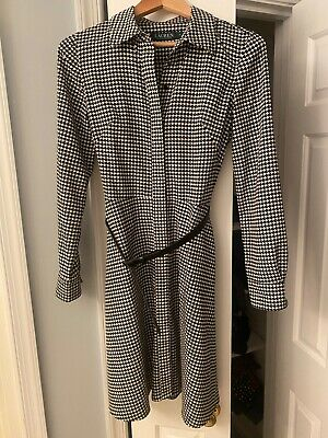 replikate Ralph Lauren houndstooth belted dress aso royal Kate Middleton 4 EUC