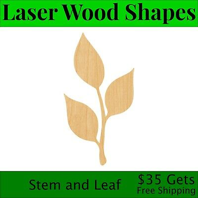 Stem and Leaf Laser Cut Out Wood Shape Craft Supply - Woodcraft Cutout