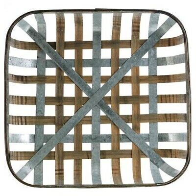 New Primitive Country Farmhouse GALVANIZED SQUARE TOBACCO BASKET Wall Hanging