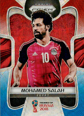 2018 Panini Prizm World Cup RED BLUE WAVE Parallel 54 Mohamed Salah - Egypt