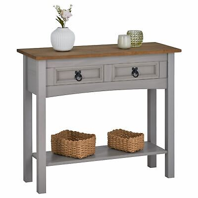 Table console meuble d'appoint style mexicain 2 tiroirs en pin massif gris/brun