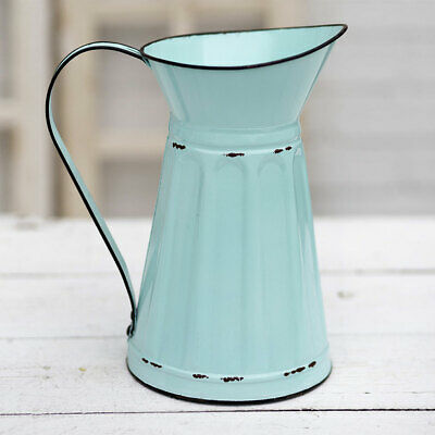 New Shabby Chic French Country Farmhouse BLUE PITCHER Water Can Vase Bucket