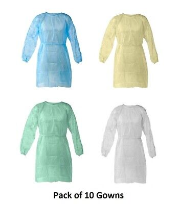 Disposable Isolation Gowns Protective Gowns Universal Size - Pack of 10 Gowns