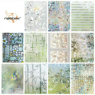 Rabbitgoo Home Window Film Privacy Static Cling Stained Glass Film Decoration