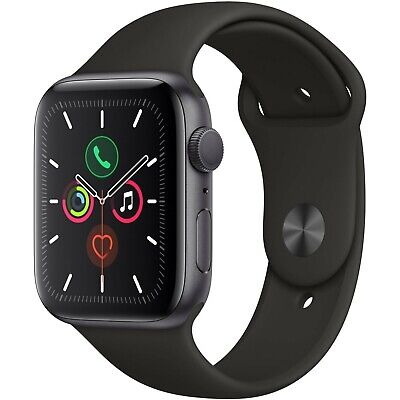 Apple Watch Gen 5 Series 5 44mm Space Gray Aluminum - Black Sport Band MWVF2LLA