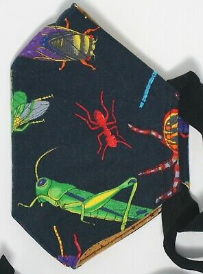 Bright insects mask - 3 layers of cotton wfilter pocket - knit straps
