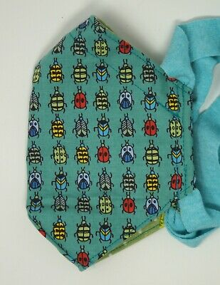 Teal beetles mask - 3 layers of cotton wfilter pocket - knit straps