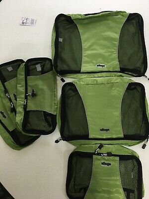 eBags Classic Packing Cubes for Travel - 6pc Value Set - Grasshopper Green