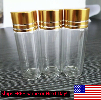 20pc 22x60mm Tiny Small New Empty Clear 14ml Bottles Glass Vials With Screw Cap
