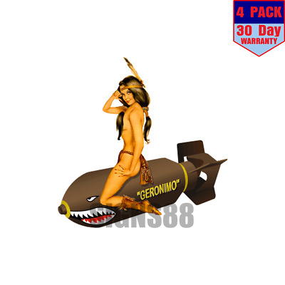 Geronimo 4 pack 4x4 Inch Sticker Decal