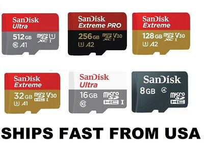 Sandisk Micro SD Card 64GB 128GB 256GB 512GB Extreme Pro Ultra Memory Cards lot
