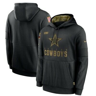 2020 Dallas Cowboys Nike Black Mens Salute To Service Sideline Hoodie Authentic