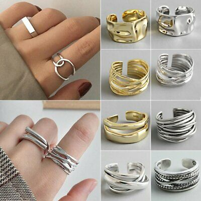 925 Silver Irregular Geometric Rings Women Handmade Couple Jewelry Adjustable