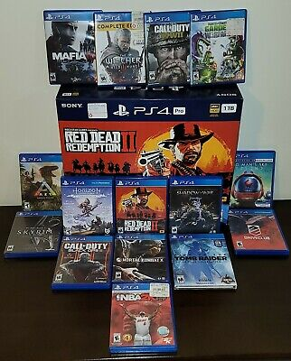 Sony PlayStation 4 Pro Console with Red Dead Redemption 2 with 14 more games-