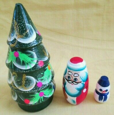 Russian Christmas Tree Cone Shape Nesting Doll SetHand MadeCrafted