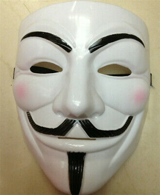 V for Vendetta Mask Frosted Fawkes Anonymous Halloween Cosplay Party Costume