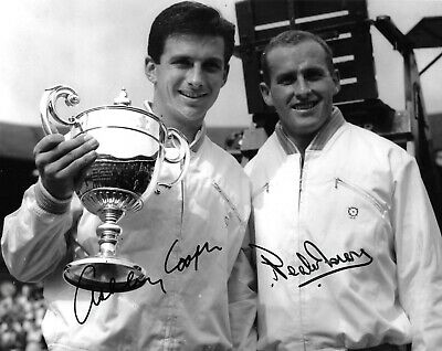 ashley cooper wimbledon singles champion with neale fraser signed 10x8 photo