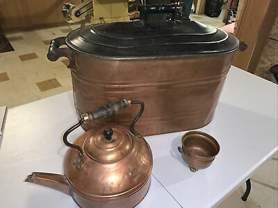 copper boiler wash tub with lid tea kettle and bowl