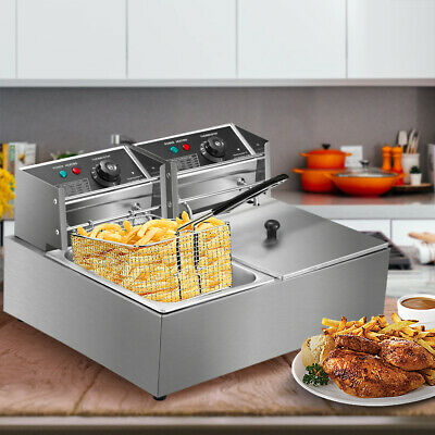 5000W Electric Deep Fryer Stainless Steel Dual Tank Restaurant Home 12L12-9QT