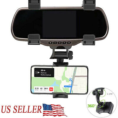 Car Rearview Mirror Holder Mount Stand Holder Cradle For Cell Phone GPS USA