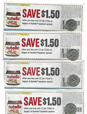 NUTELLA Hazelnut Spread Coupons lot of 4 exp- 41821